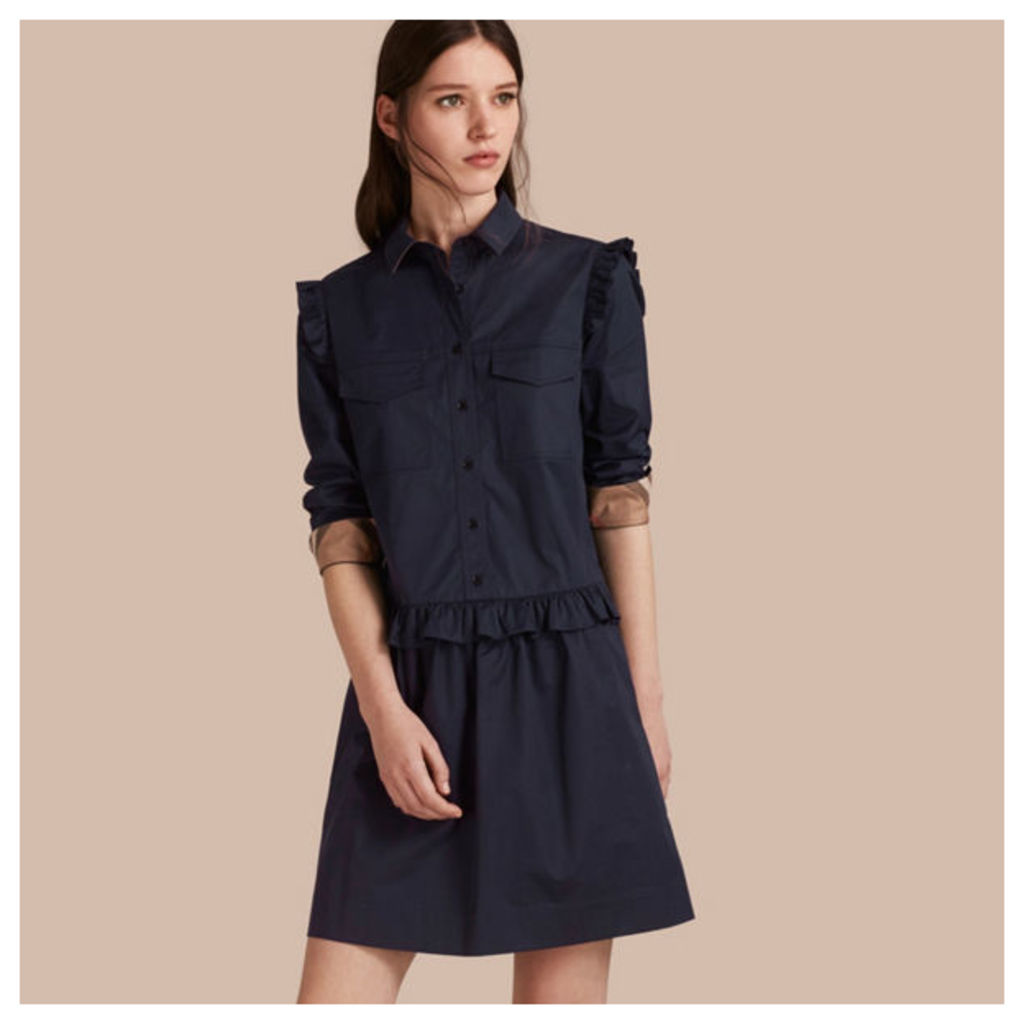 Ruffle and Check Detail Cotton Shirt Dress