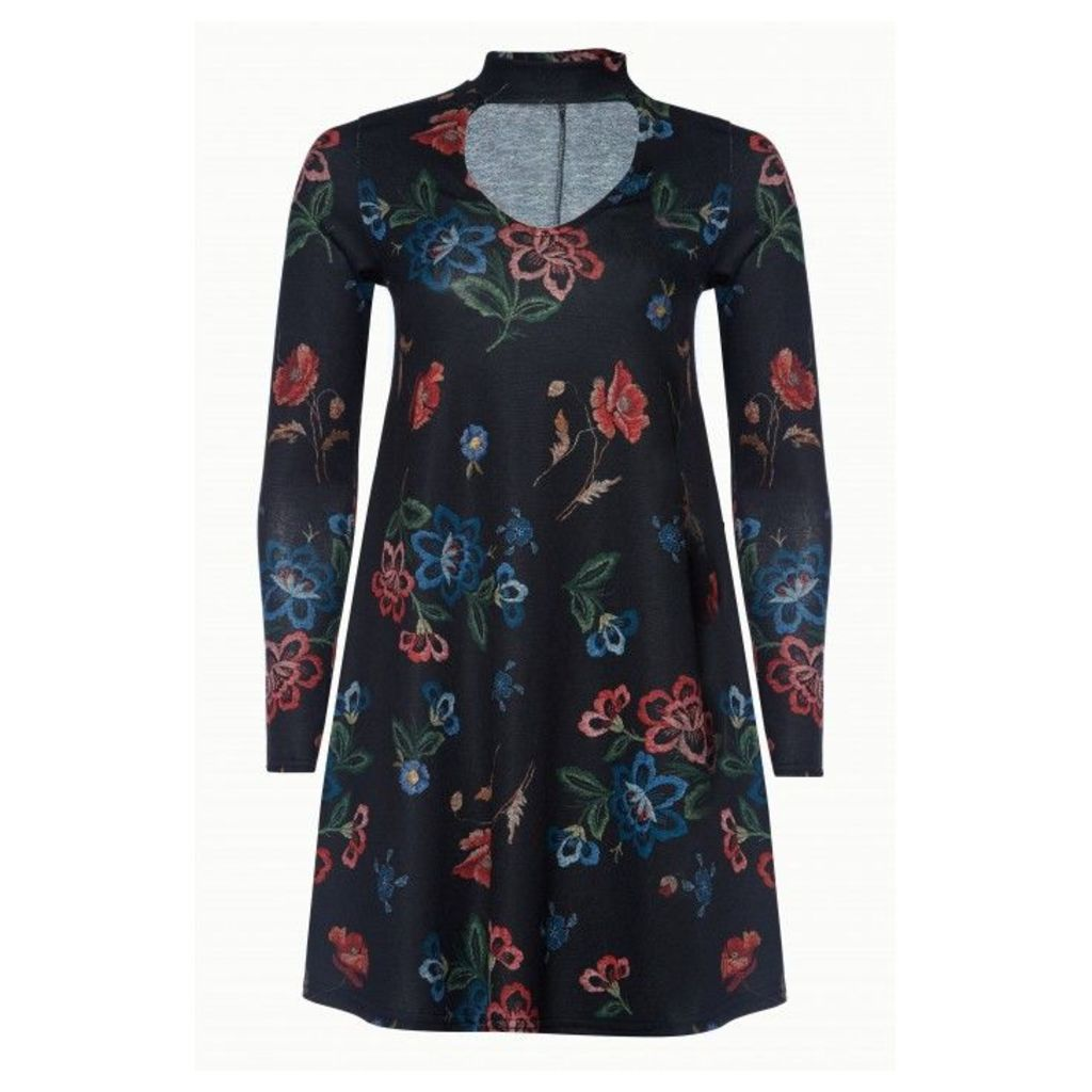 FLORAL CHOKER SWING DRESS