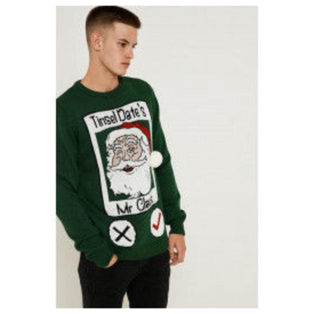 Brand Attic Tinsel Dates Christmas Jumper - Green