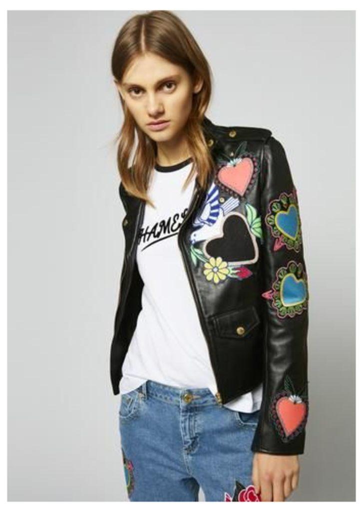 Leather Heart Biker Jacket