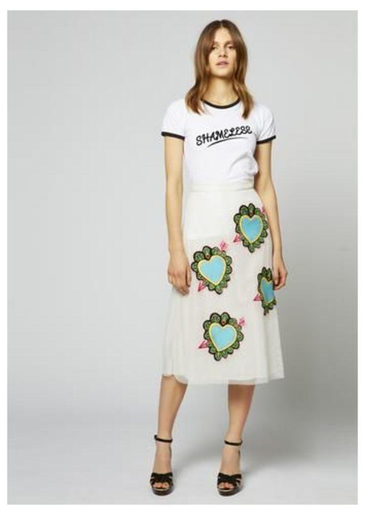 Heart Mesh Midi Skirt