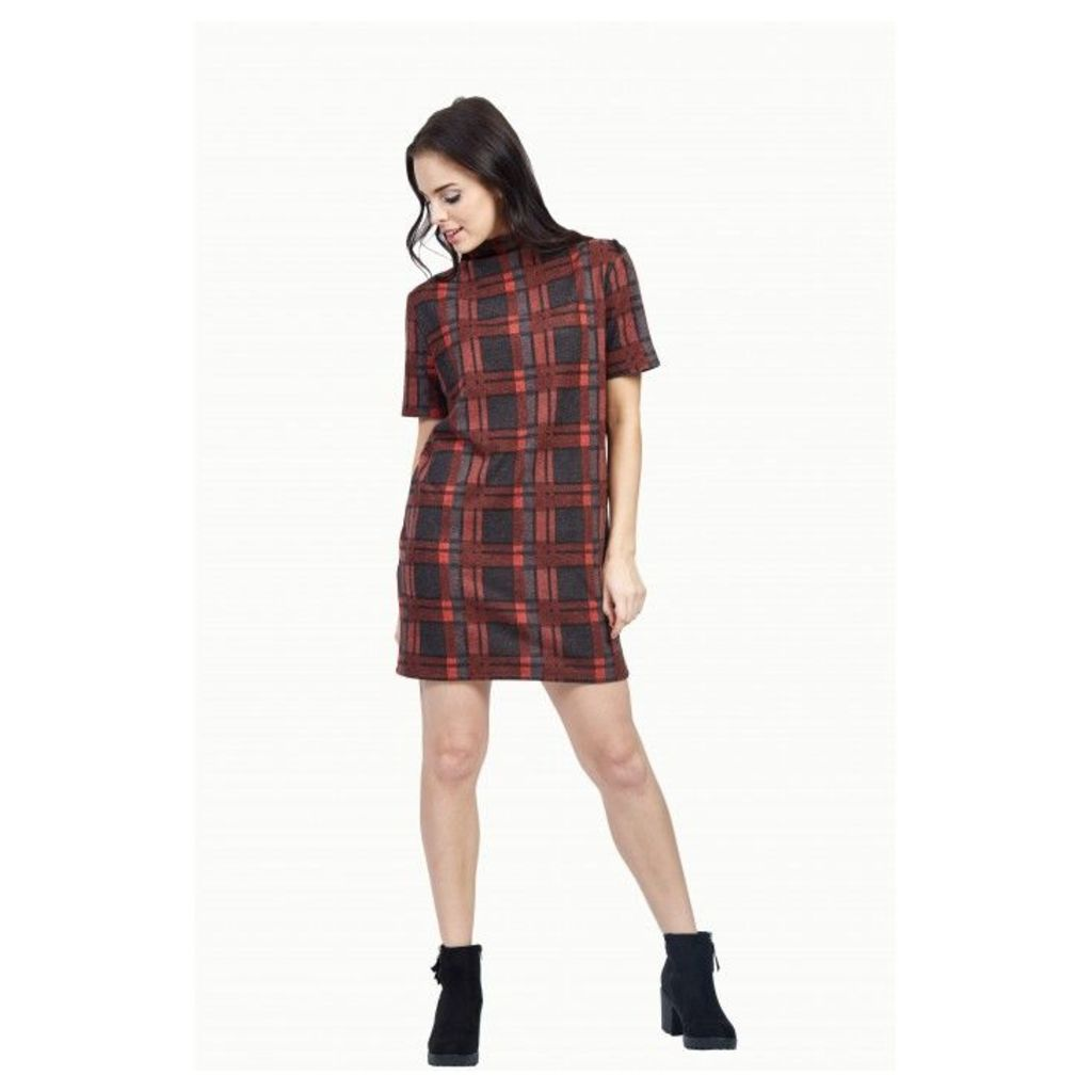 BRIGHT CHECK BRUSHED DRESS