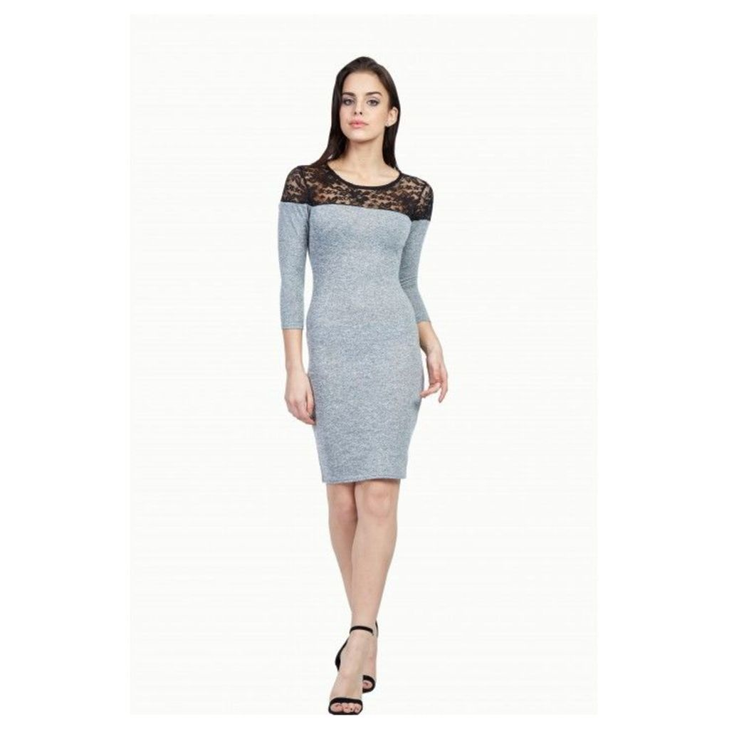 LACE INSERT BRUSHED BODYCON DRESS