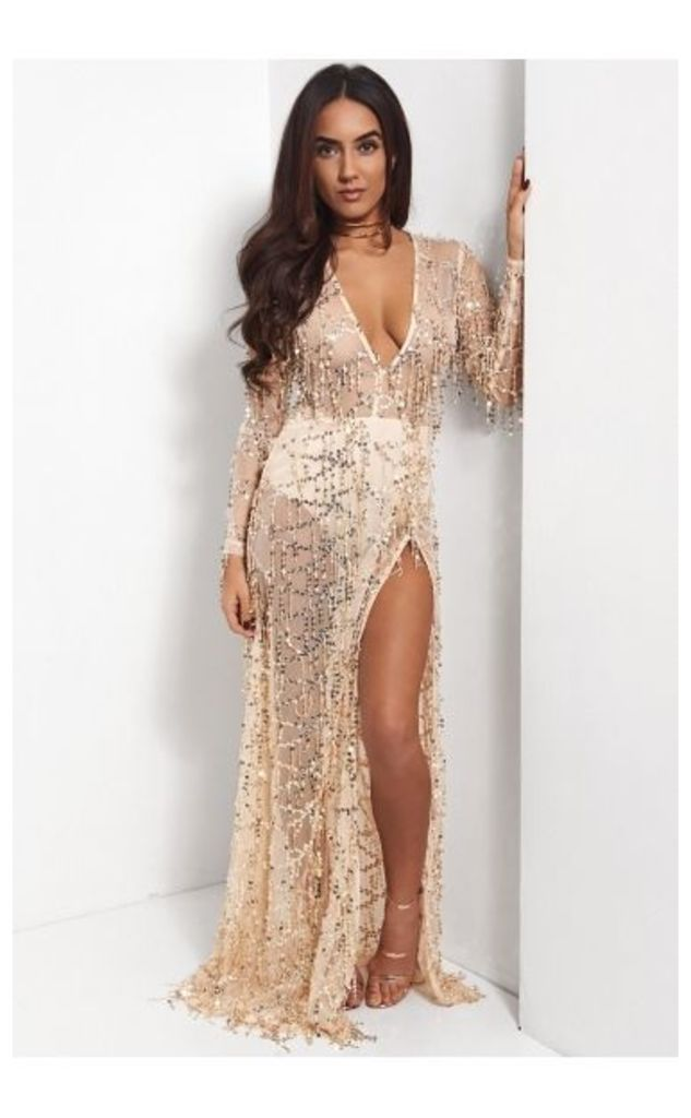 Sia Gold Sequin Side Split Maxi Dress