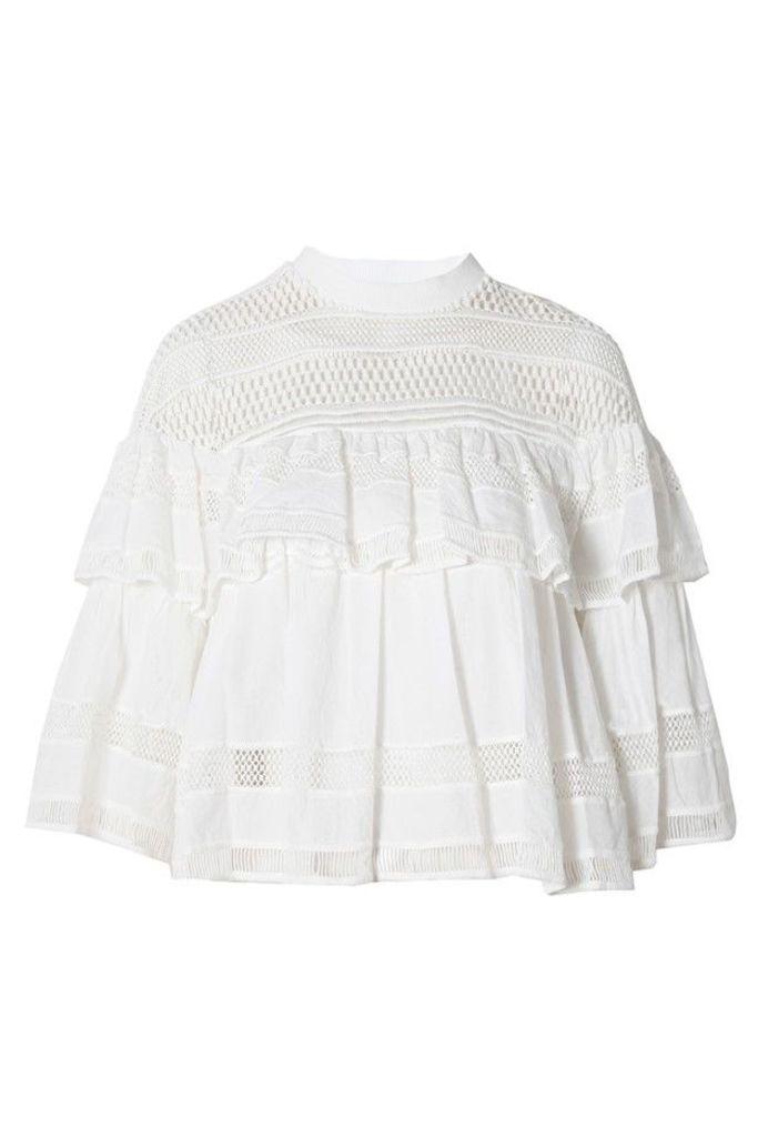 Baja Lace Ruffled Top White