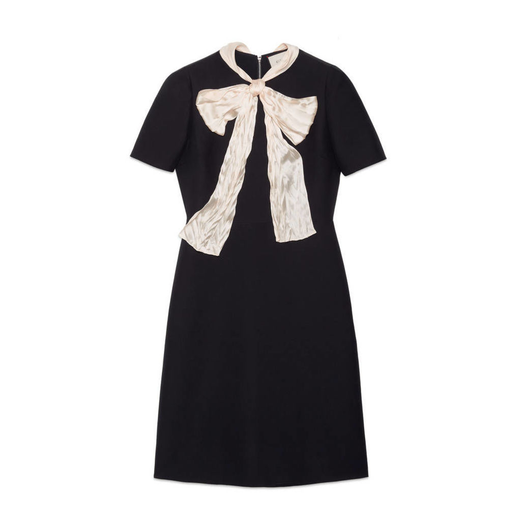 Wool silk dress with bow