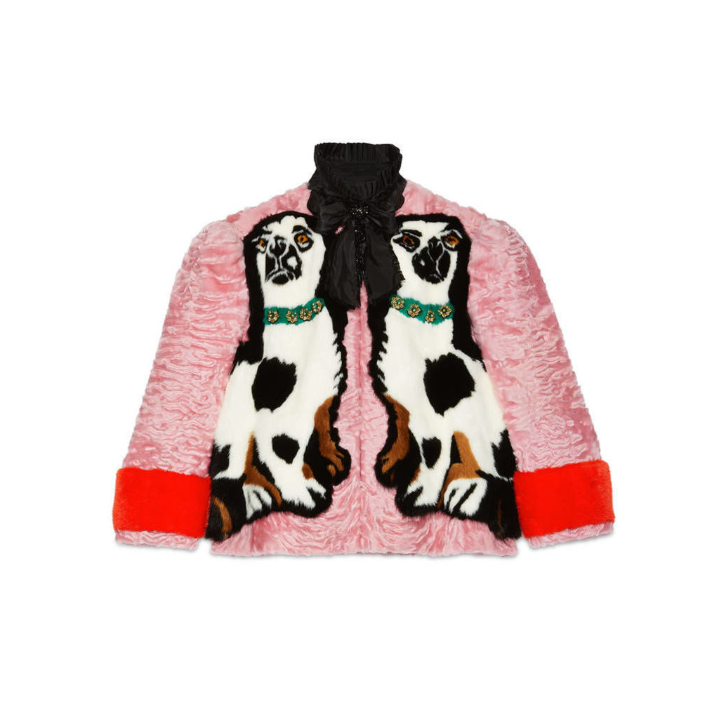 Spaniel dogs intarsia fur jacket