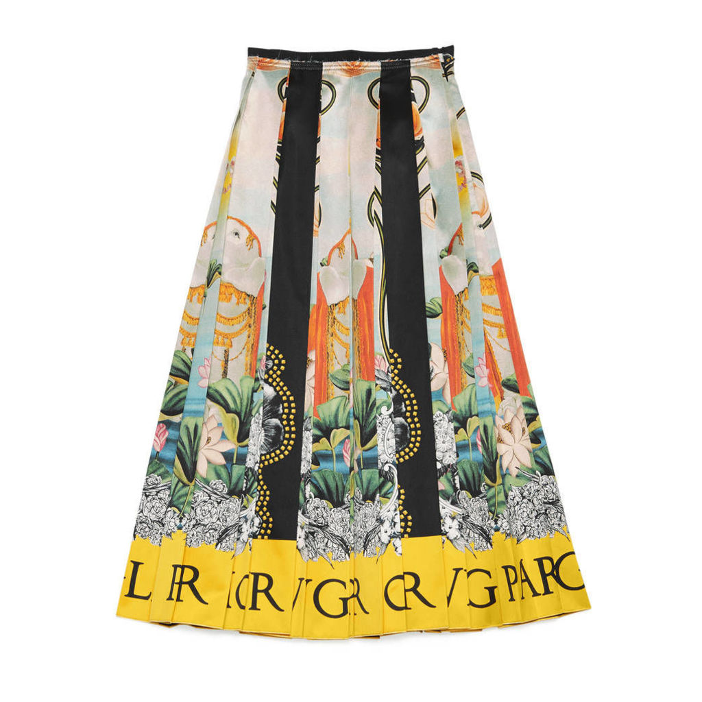 Waterlilies print silk skirt
