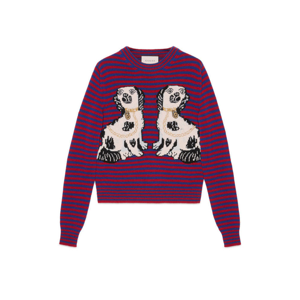 Striped wool top with dogs intarsia