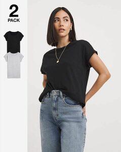 Black/Grey 2 Pack Boyfriend Tshirts