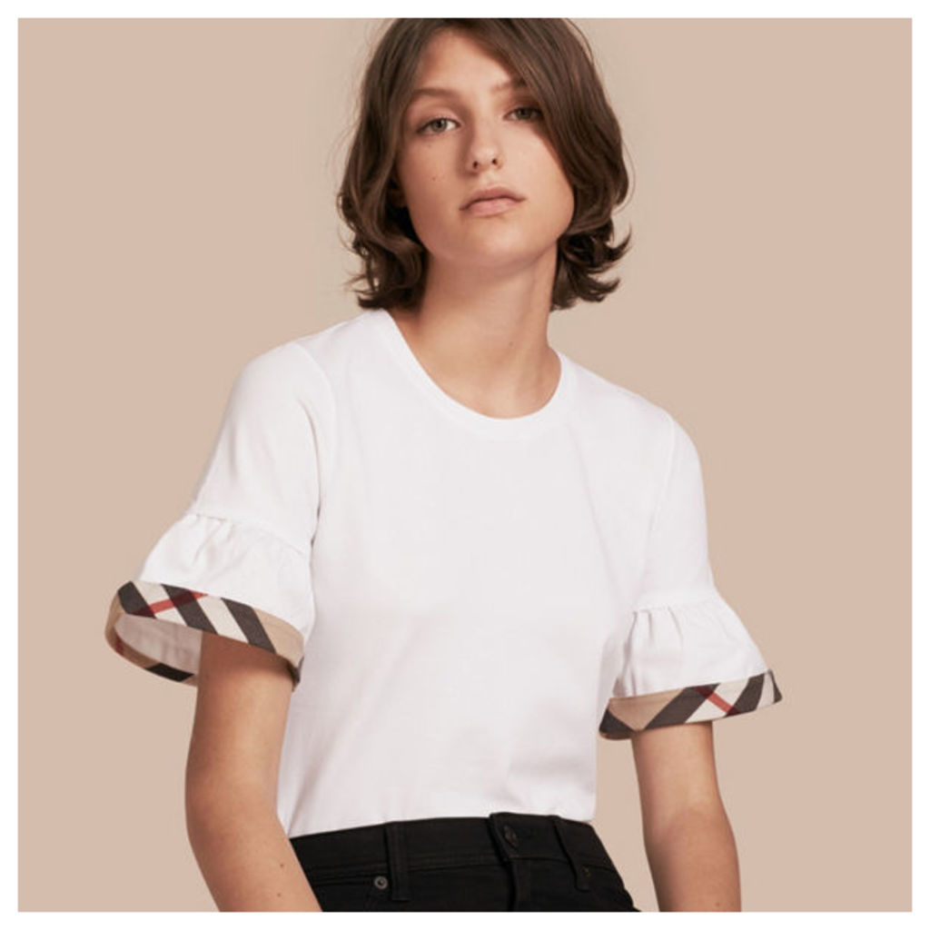 Stretch Cotton T-shirt with Check Trim Ruffles