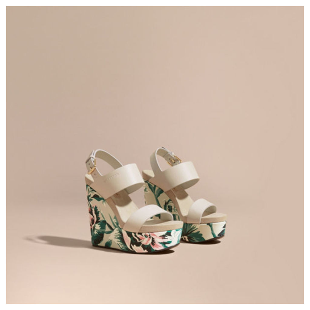 Peony Rose Print Leather Platform Wedges
