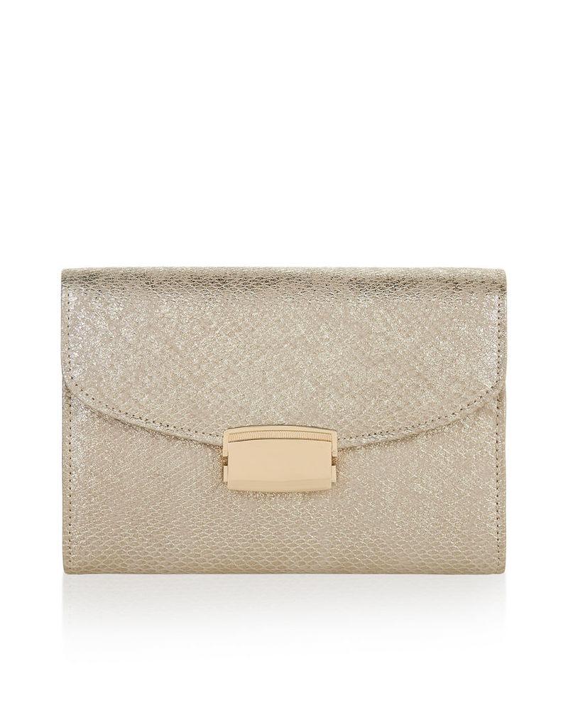 Vera Shimmer Snake Clutch Bag