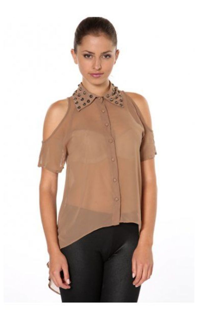 Lois Studded Collar Blouse In Brown