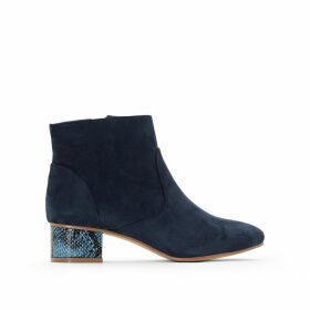 Ankle Boots with Snakeskin Effect Heel