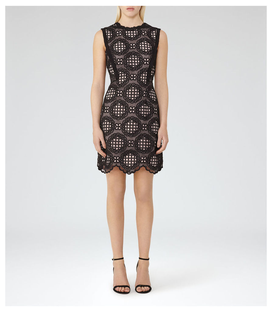 REISS Dixie - Womens Graphic Lace Dress in Black