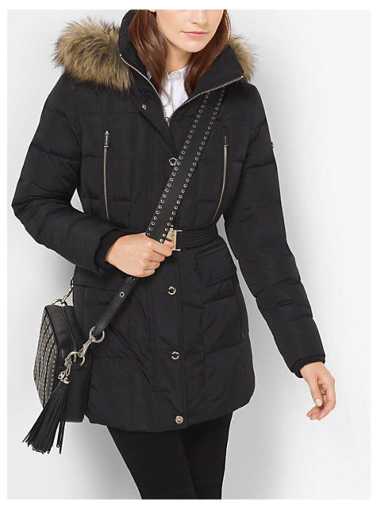 Quilted-Nylon Down Coat