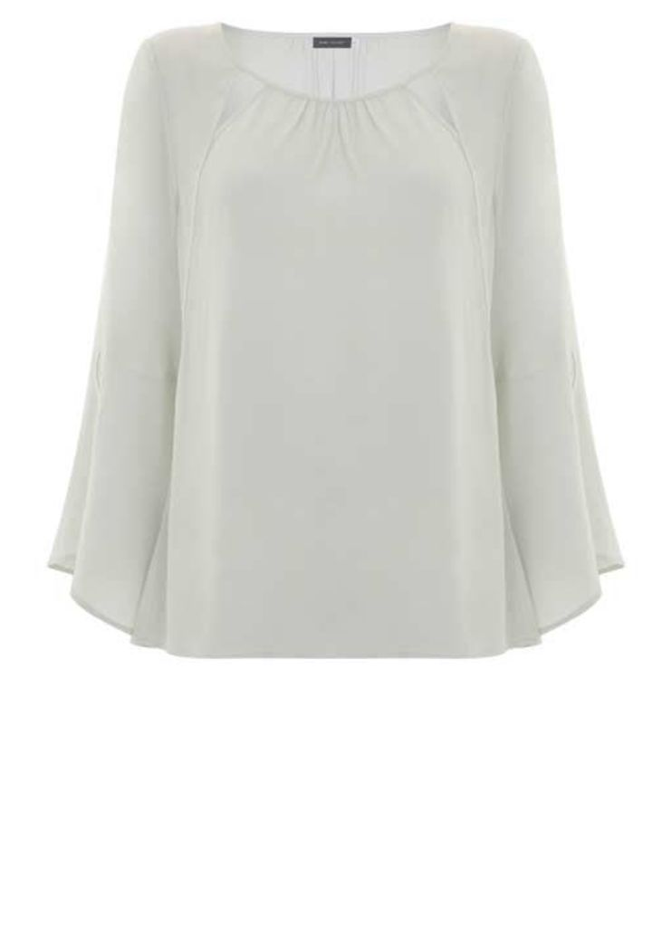 Mint Cut Out Fluted Sleeve Blouse
