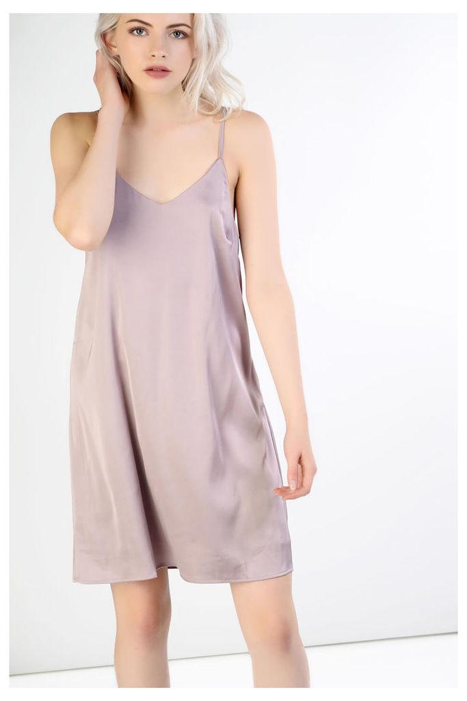 Mauve Satin Cami Dress