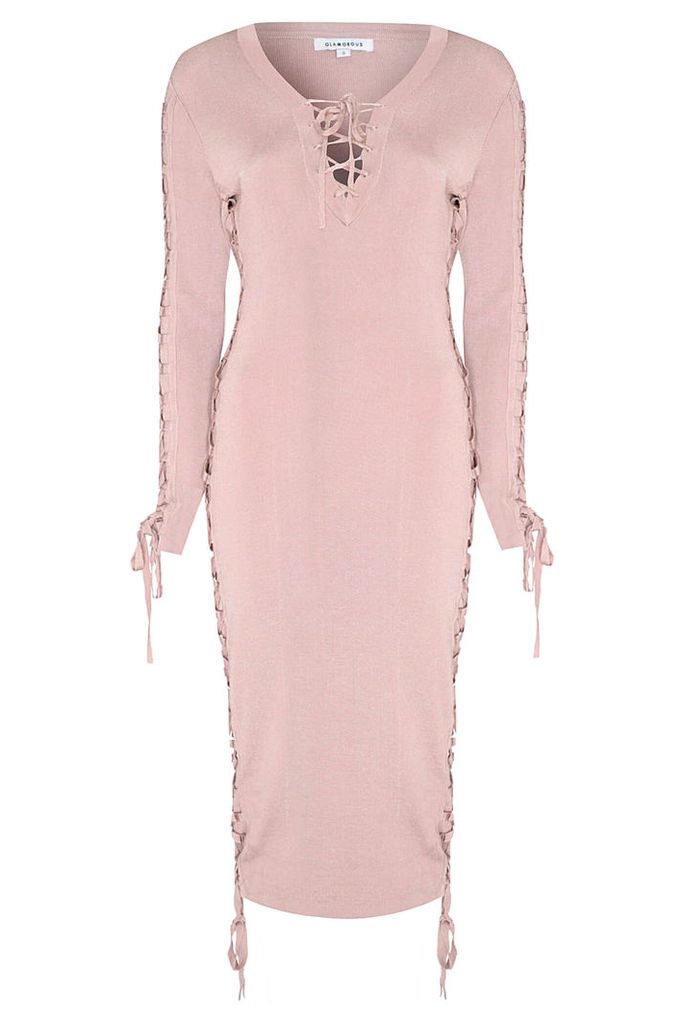 Pink Bodycon Dress with Tie Detail