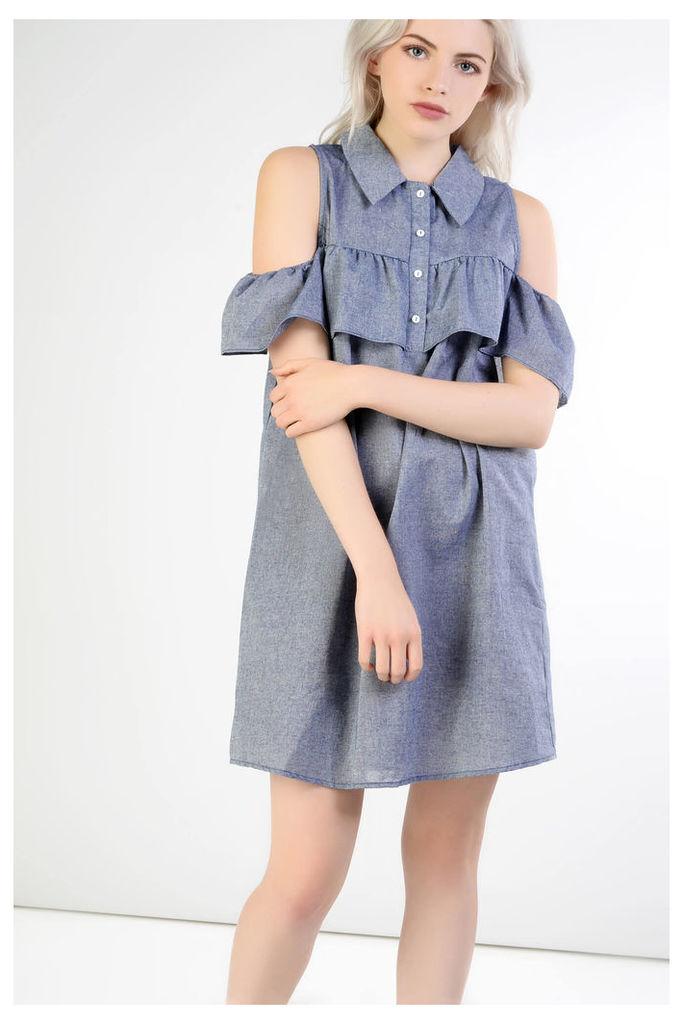 Mid Blue Cold Shoulder Shirt Dress