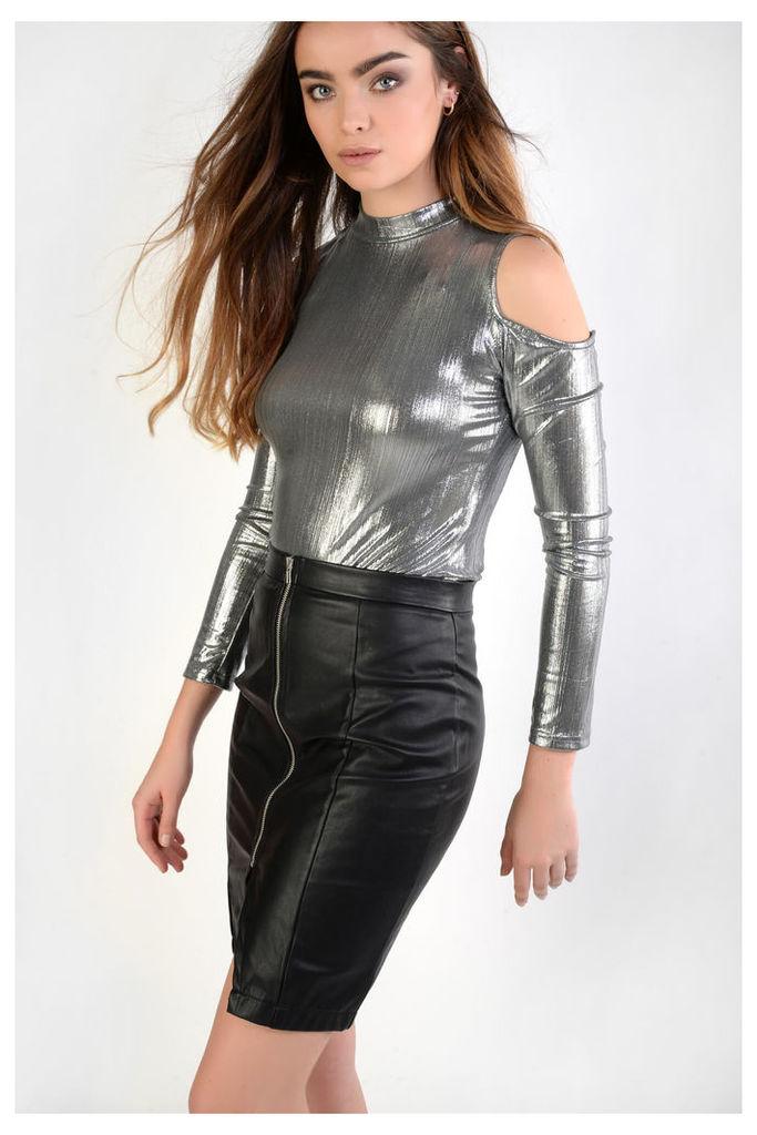 Metallic Cold Shoulder Bodysuit