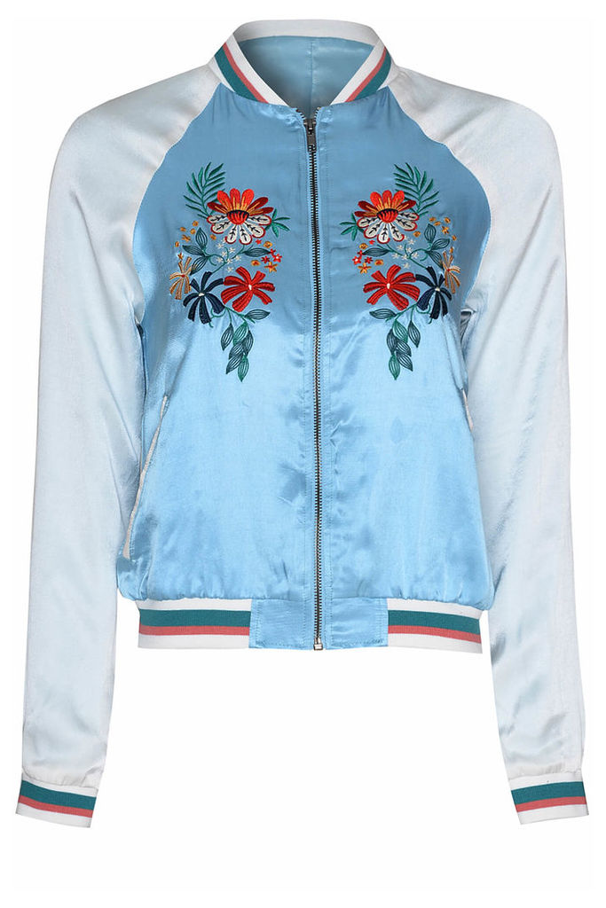 Blue And White Oriental Flower Bomber Jacket