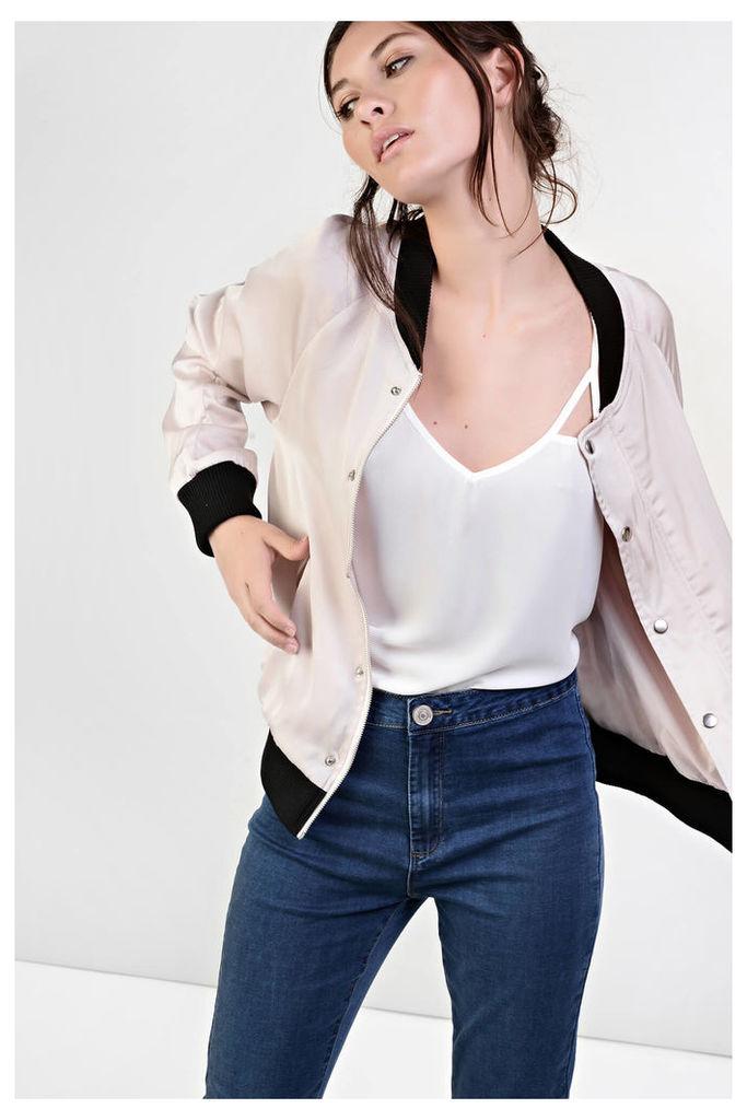 Pale Pink Contrast Bomber Jacket