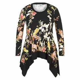 Chesca Oriental Floral Tunic, Black