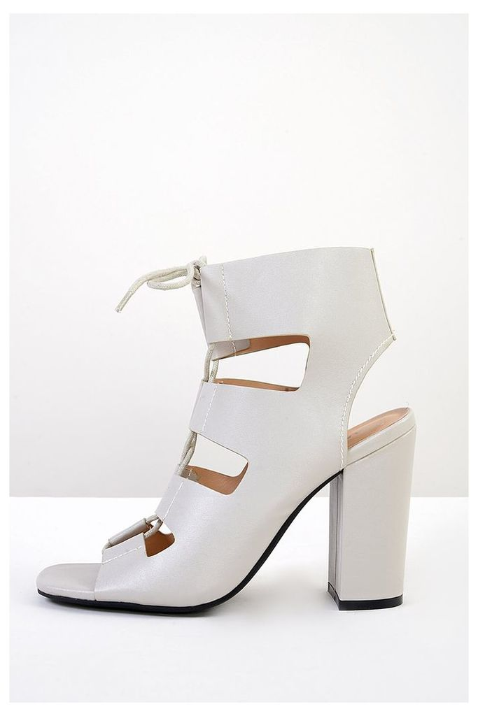 Cream Lace Up Heeled Sandals