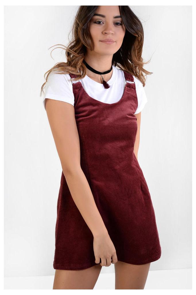 Burgundy Cord Pinafore Dress
