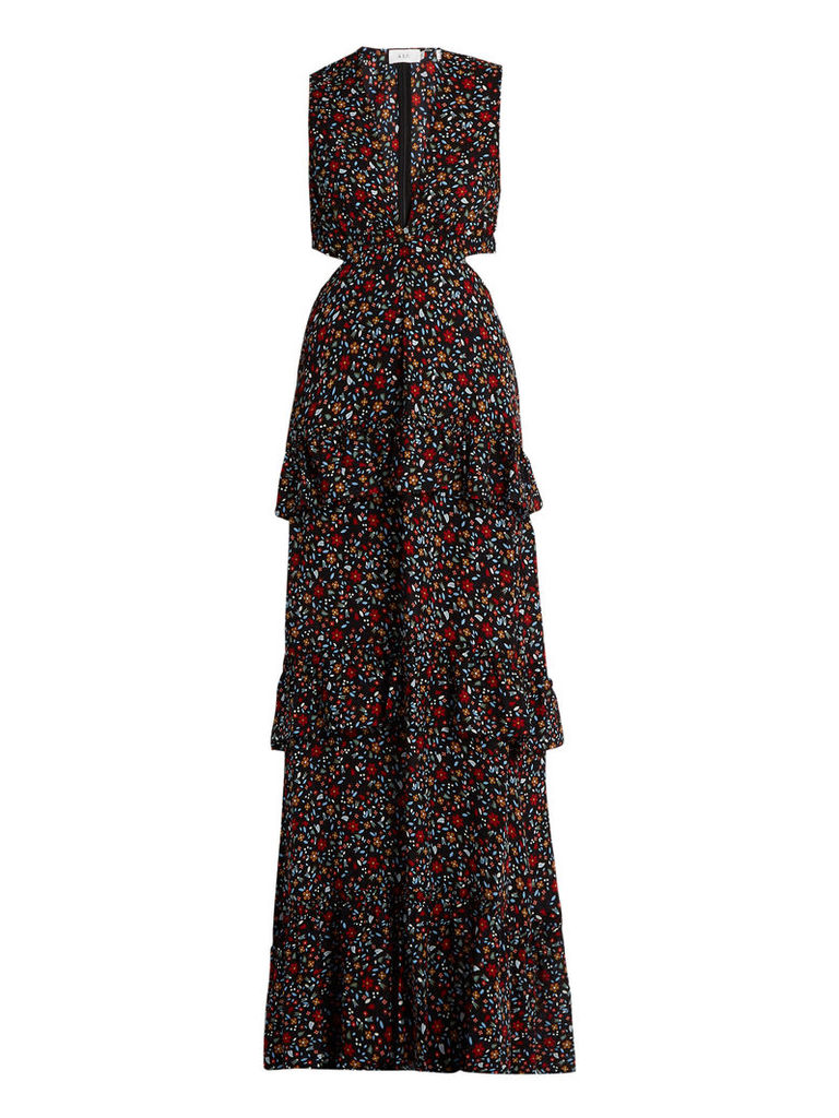 Brie floral-print cut-out silk maxi dress