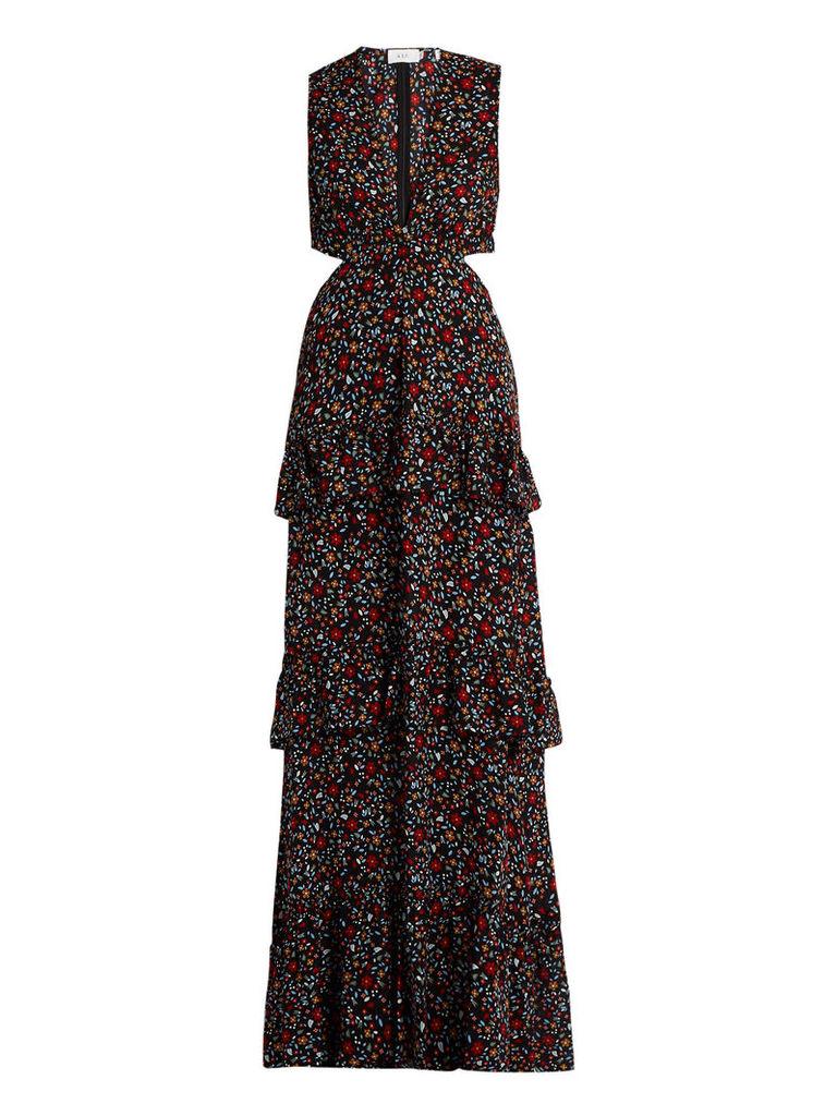 Brie floral-print cut-out silk maxi dress