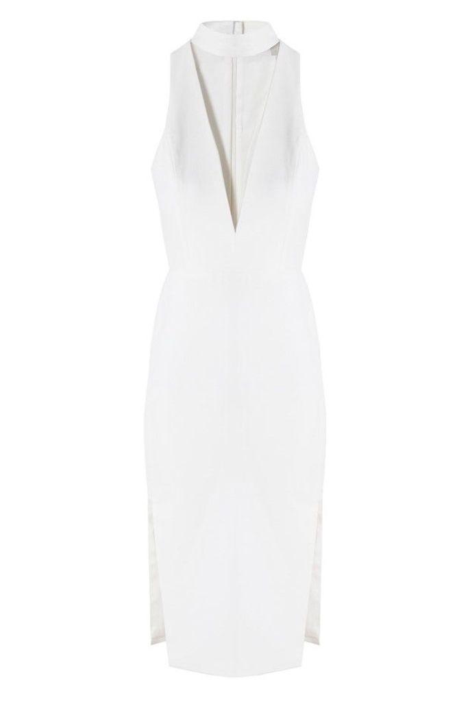 Choker Plunge Dress in Ivory
