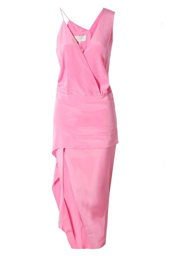 Asymmetrical Dress in Bubblegum