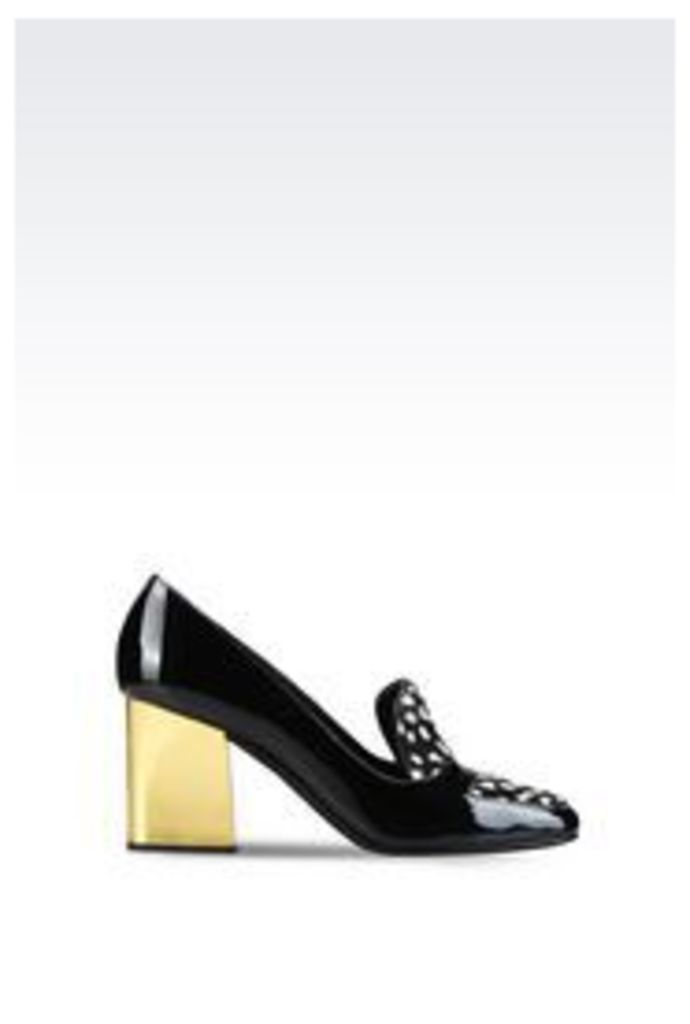 OFFICIAL STORE EMPORIO ARMANI COURT SHOE IN PATENT AND PONY SKIN