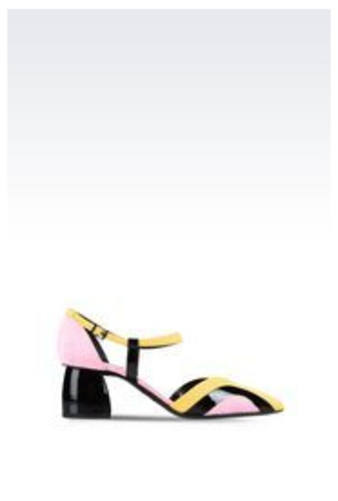 OFFICIAL STORE EMPORIO ARMANI COURT SHOE IN PATENT AND SUEDE