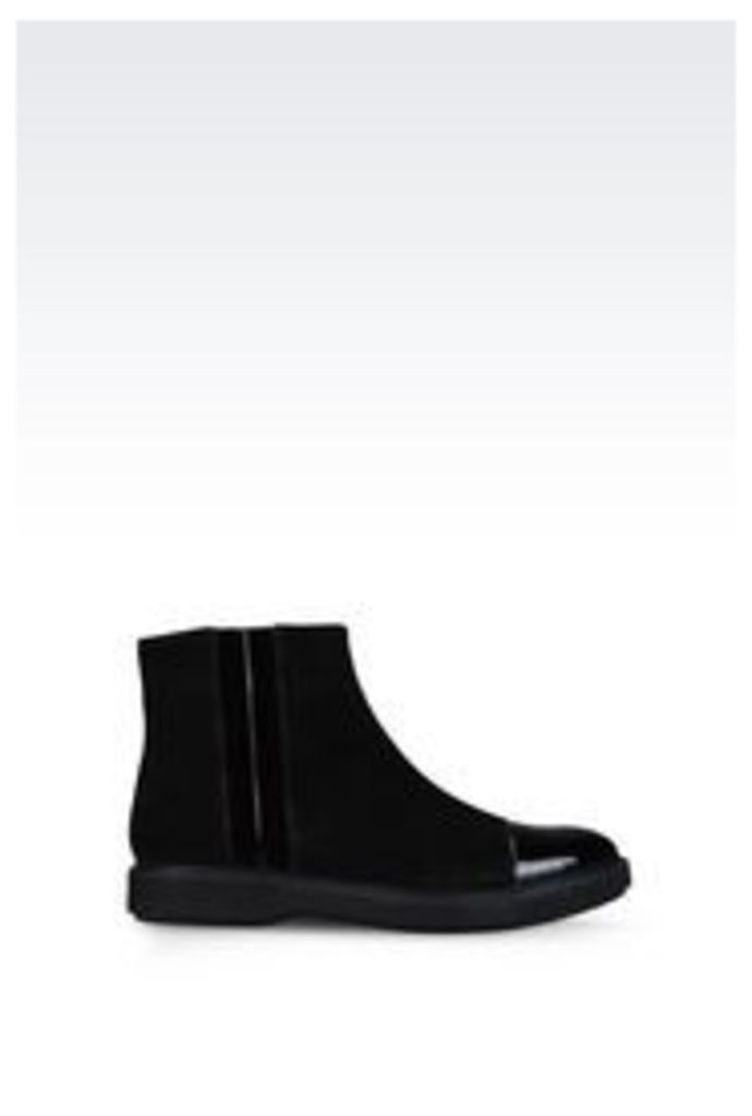 OFFICIAL STORE EMPORIO ARMANI HALF BOOT IN SUEDE AND PATENT