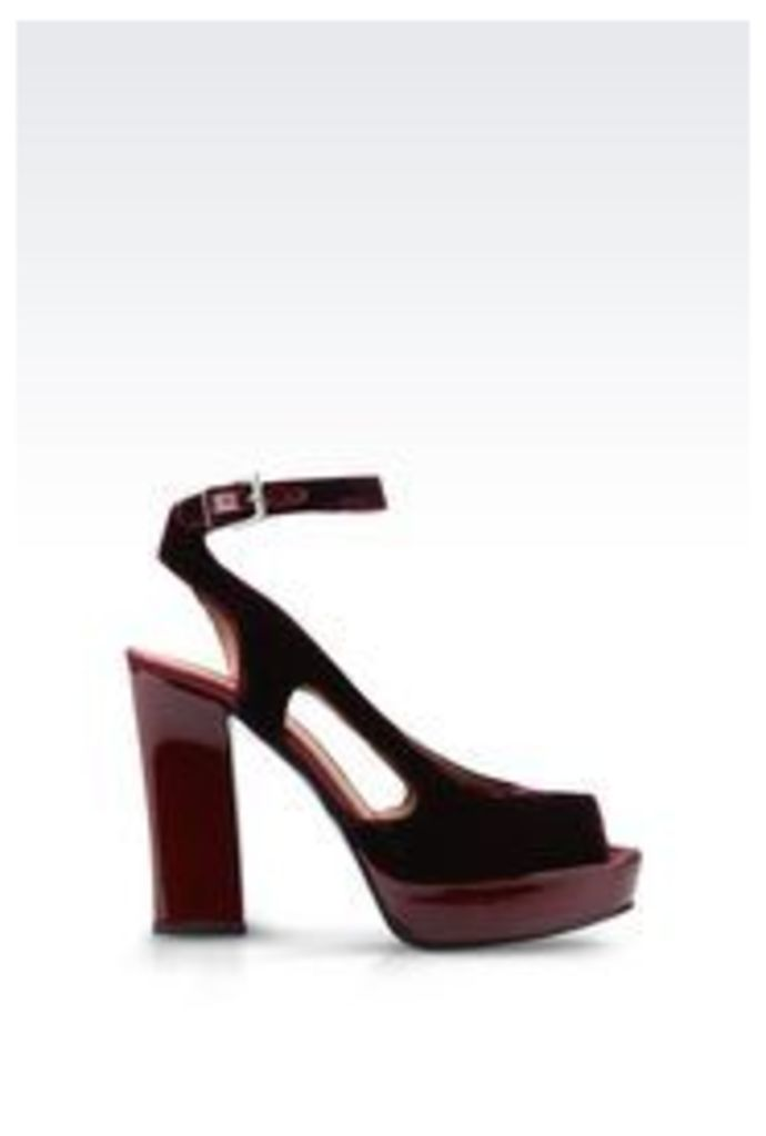 OFFICIAL STORE EMPORIO ARMANI SANDAL IN VELVET AND SATIN