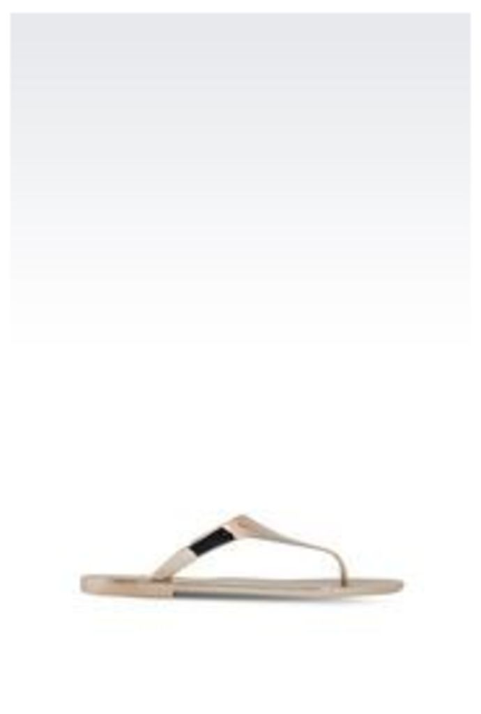 OFFICIAL STORE ARMANI JEANS FLIP FLOP IN LAMINATED EFFECT RUBBER