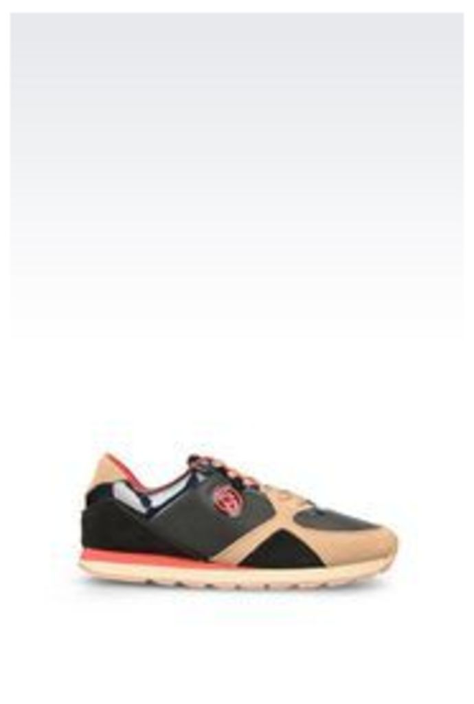 OFFICIAL STORE ARMANI JEANS RUNNING SHOE IN LEATHER