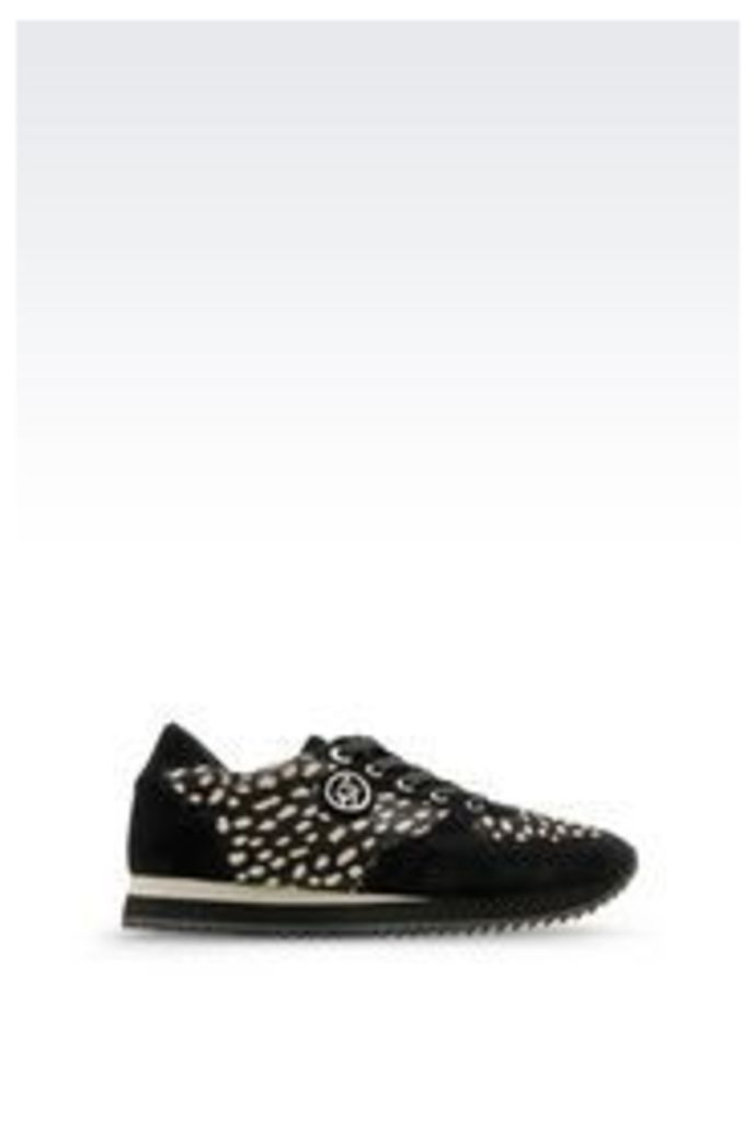 OFFICIAL STORE ARMANI JEANS RUNNING SHOE IN PONY SKIN