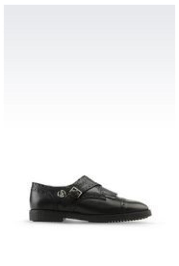 OFFICIAL STORE ARMANI JEANS MONKSTRAP IN LEATHER