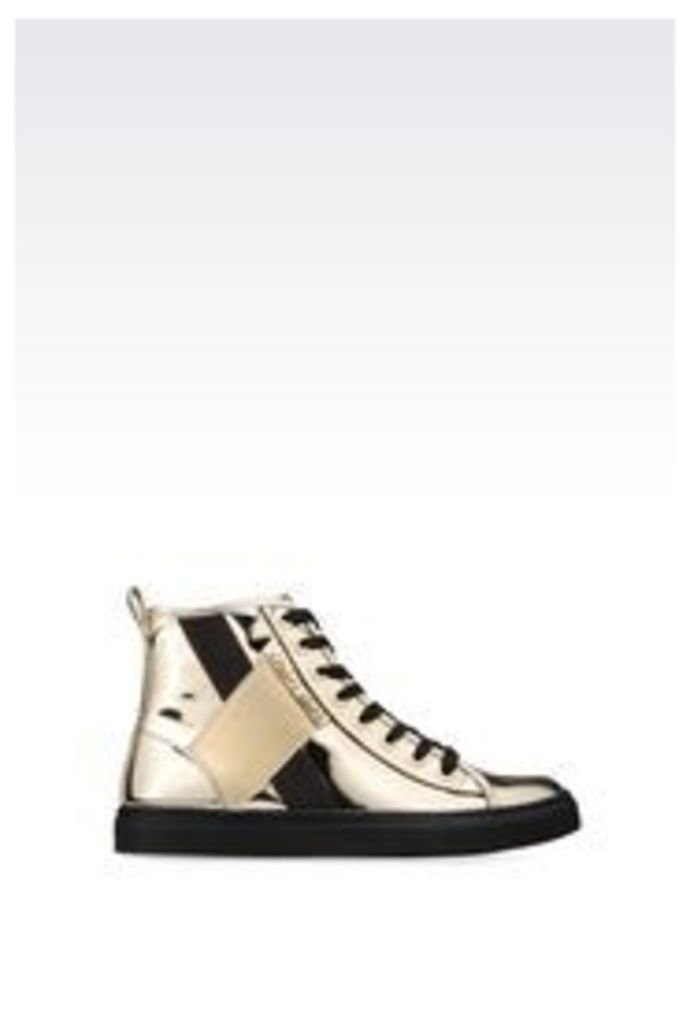 OFFICIAL STORE ARMANI JEANS HIGH-TOP SNEAKER WITH MIRROR EFFECT