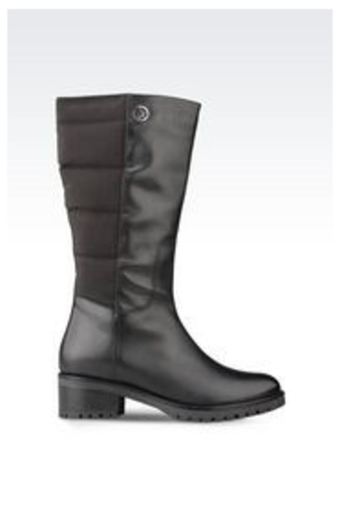 OFFICIAL STORE ARMANI JEANS BOOT IN NYLON AND LEATHER