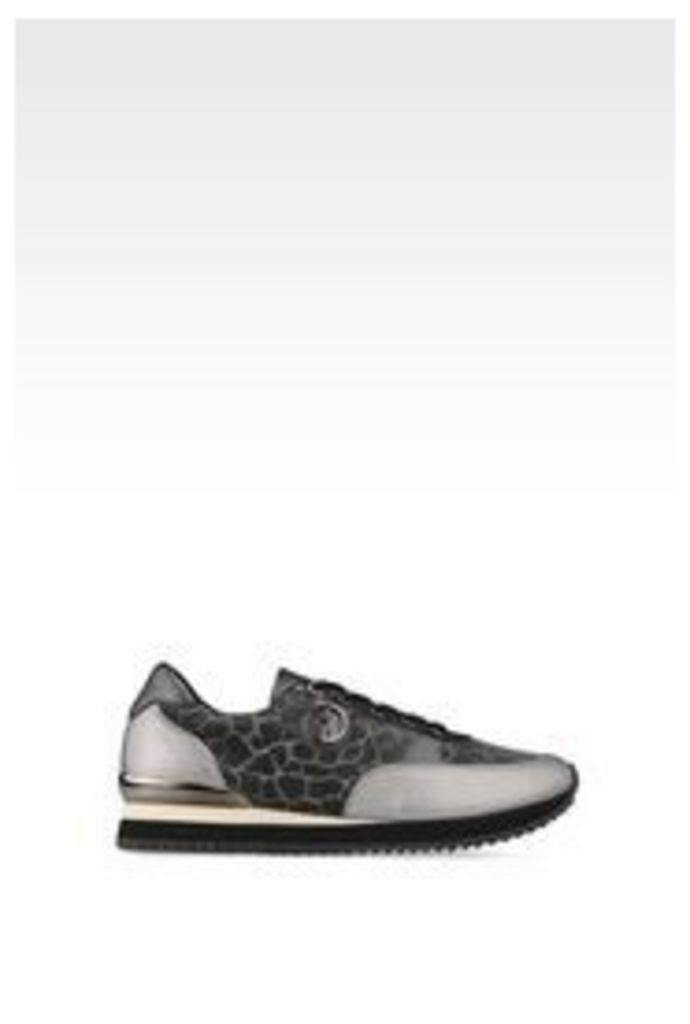 OFFICIAL STORE ARMANI JEANS RUNNING SHOE IN LAMINATED EFFECT LEATHER