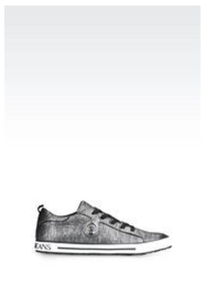 OFFICIAL STORE ARMANI JEANS SNEAKER IN LAMINATED EFFECT SUEDE