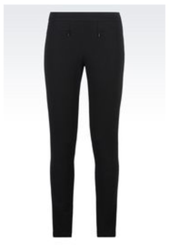 OFFICIAL STORE EMPORIO ARMANI TROUSERS IN JERSEY PIQUE