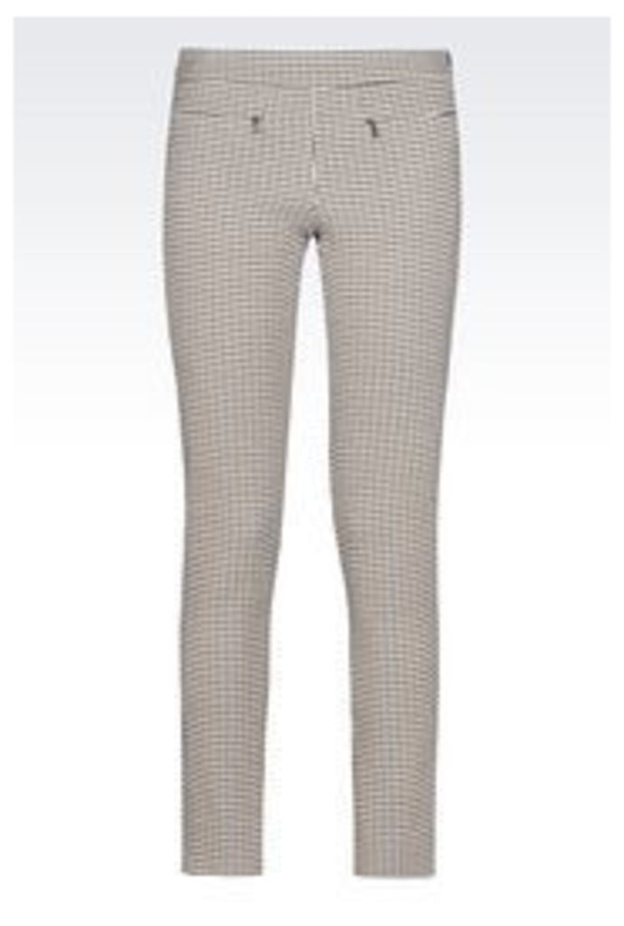 OFFICIAL STORE EMPORIO ARMANI TROUSERS IN EMBOSSED HOUNDSTOOTH