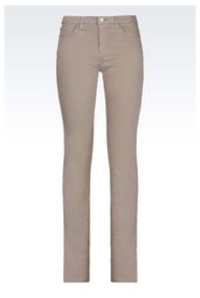 OFFICIAL STORE ARMANI JEANS REGULAR FIT 5-POCKET TROUSERS IN SATIN